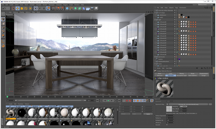 Integrated rendering with the Indigo SDK in Cinema 4D, scene by Arthur Staschyk